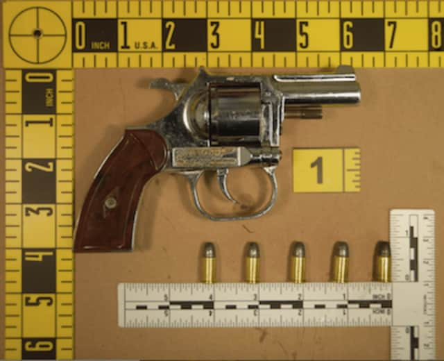 The revolver discarded by a suspect who fled police Tuesday evening in Stamford. Police believe it was used in another shooting last week in Stamford.