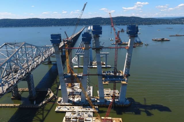 The big blue boxes are being removed from the new Tappan Zee Bridge as workers complete westbound towers.