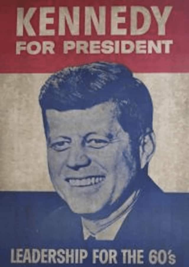 This JFK poster will be among the memorabilia in a new exhibition of political campaign materials at Westport Library.