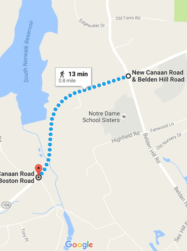 New Canaan Road is closed Thursday between Old Boston Road and Belden Hill Road.
