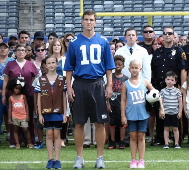 Giants quarterback Eli Manning taking an active role in supporting Tackle Kids Cancer for the Hackensack University Medical Center Foundation.