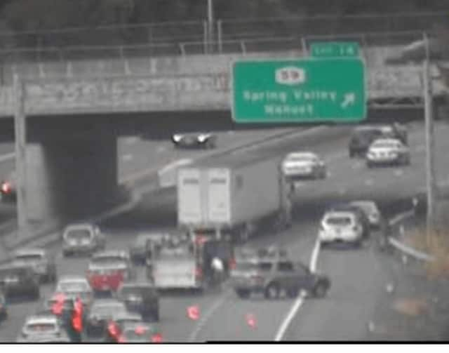 A serious crash involving four vehicles is blocking the right lane on southbound I-287 in Rockland early Saturday evening.