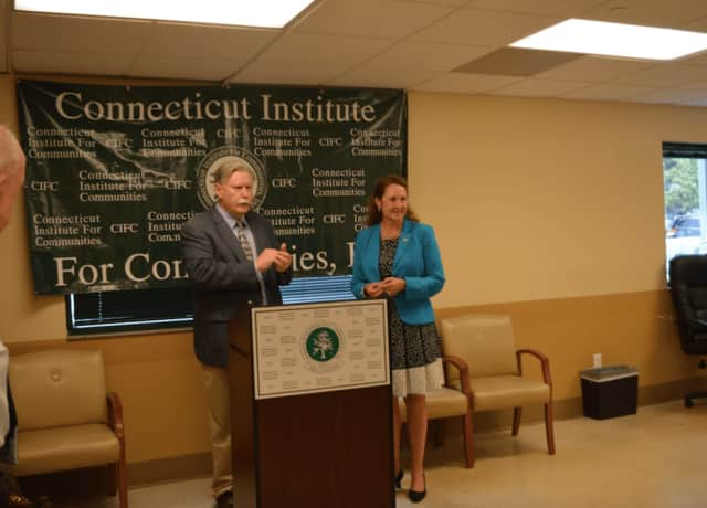 U.S. Rep. Elizabeth Esty (D-5th District) with James Maloney, president and CEO of the Connecticut Institute for Communities, announce an annual federal grant of $350,000 for the Greater Danbury Community Health Center.