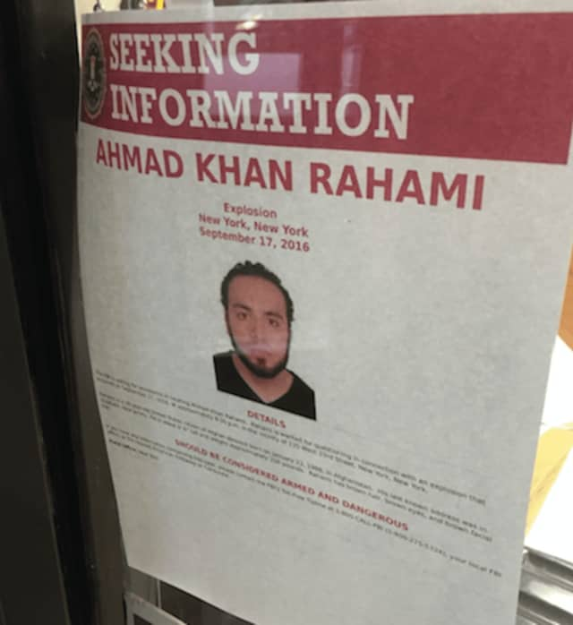 Ahmad Khan Rahami, 28, was wounded in a shootout just after he was discovered in Linden, New Jersey around 10:30 a.m. He's a suspect in a Manhattan bombing and two other potential bombings. His image in the lobby at Stamford Police headquarters.