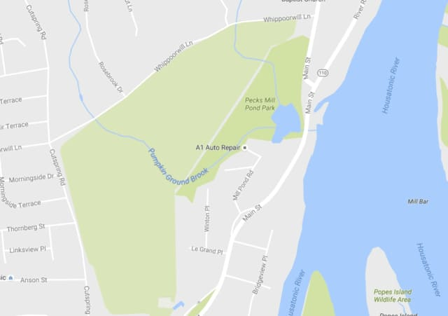 The impacted area of the Route 110 overnight closure is in the vicinity of Pumpkin Ground Brook.