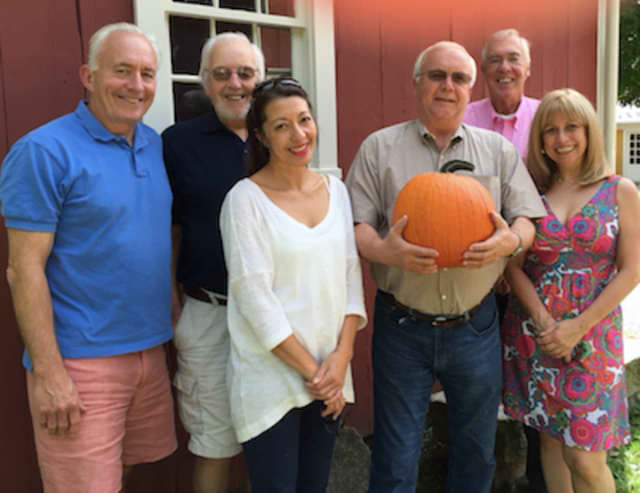 From left, Mike Safko, Bud Taylor, Lola Chen of the Wilton Historical Society with Raymond Tobiassen, Martin Clancy, Mary Anne Mendola Frank.