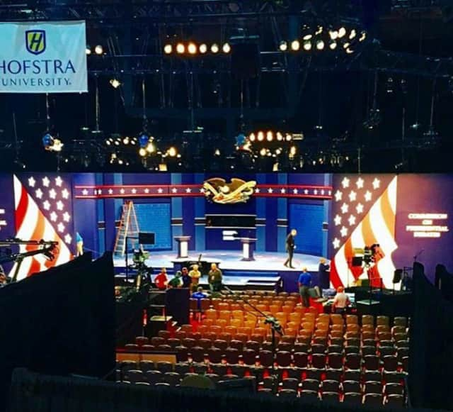 The stage for Monday's debate at Hofstra University in Hempstead on Long Island.