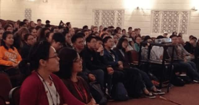 Visiting Chinese students attend a Mamaroneck Public Schools welcome ceremony.