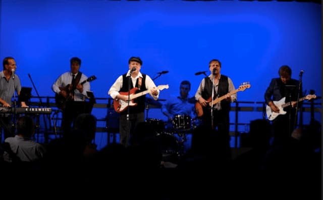 Paul Block, Robert Schaffer, Frank Riccio, Mike Conlin, Gary Kristoph and Lou Patrick, Claire Kenny and Chris Balestriere brought the sold-out crowd at the Darien Arts Center's Beatles Night to their feet Saturday, Sept. 24.