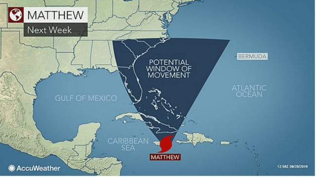 Matthew, which had been a tropical storm, was named a hurricane on Thursday. Above, a look at its potential movement next week.