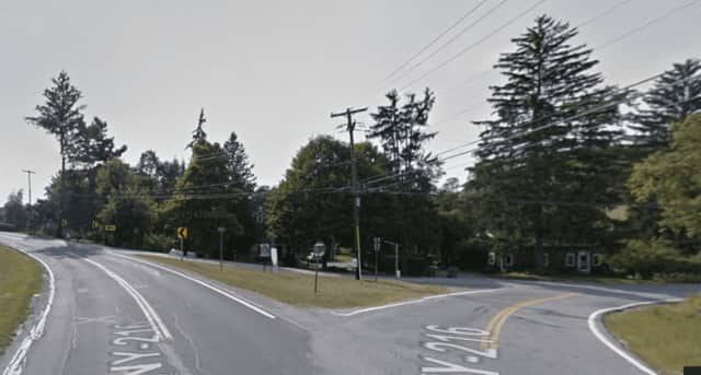 This intersection in Poughquag, at Route 216 and Main Street, was the scene of a serious motorcycle-car accident on Monday afternoon.