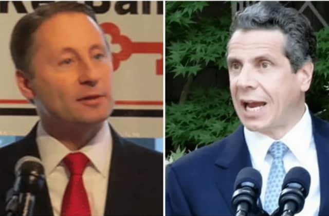 Political rivals Rob Astorino, left, the Republican Westchester County Executive, and New York Gov. Andrew Cuomo, a Democrat who also resides in Westchester.