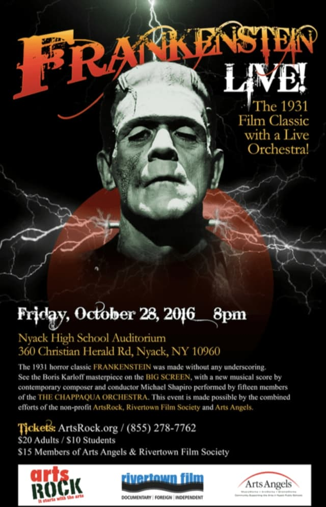 Frankenstein, the 1931 classic horror movie, will be shown on Oct. 28 and accompanied by the performance by The Chappaqua Orchestra of a music score composer Michael Shapiro wrote for the film.