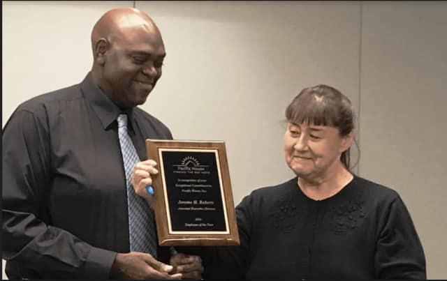 Jerome Roberts is named Pacific House Employee of the Year, pictured here with Jane Surmaczewicz, Pacific House office manager.