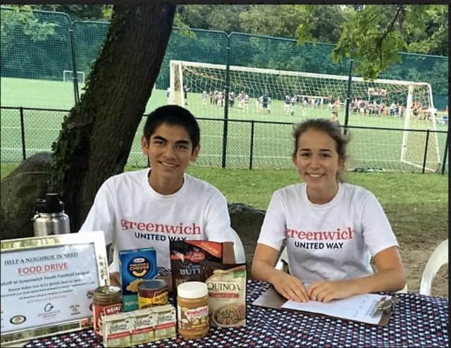 Greenwich High School students Olivia Jones, a senior, and Nicholas Glass, a junior, are Greenwich Jr United Way volunteers.