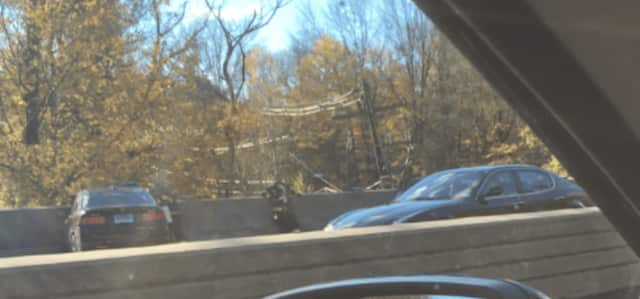 The crash is on the Merritt Parkway between King Street (Exit 27) and Lake Avenue (Exit 29) in Greenwich.