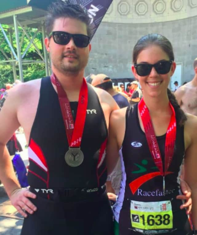 Racefaster athletes at the New York City Triathlon.