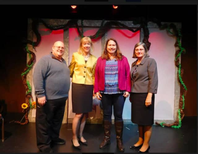 From left, Wayne Leiss, Ridgefield Theater Barn manager; Jill Mcguire, Union Savings senior branch manager, Ridgefield; Pamela Jones, president, Ridgefield Theater Barn Board of Directors; and Cynthia Merkle, president and CEO of Union Savings Bank.