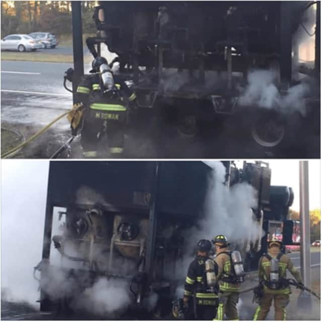This morning Long Hill Crews responded to assist with a construction trailer fire on Route 8. The crew from E-205 assisted with overhaul of the trailer and applying foam to the burning tires.