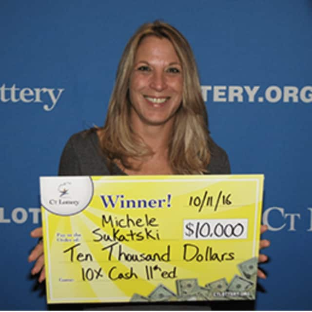 "Michele Sukatski of Stamford wins in the ""10X The Cash"" lottery game last month."
