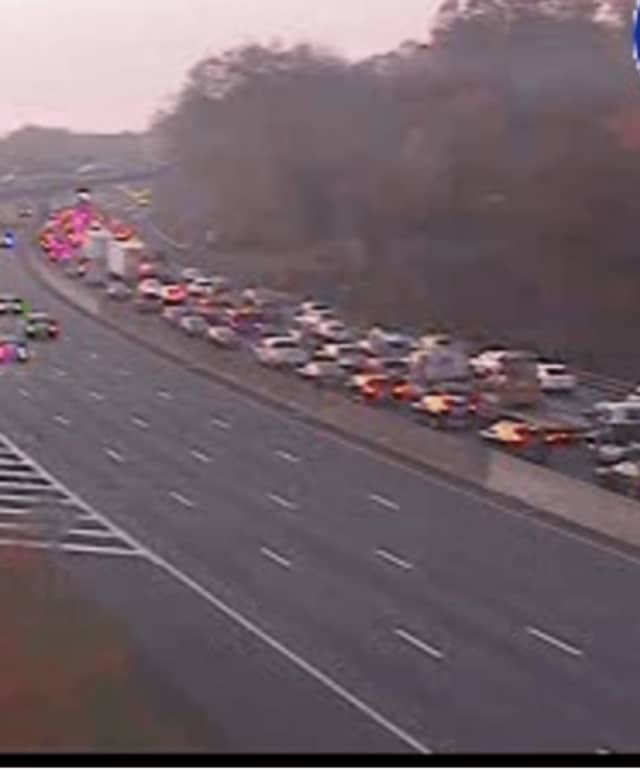 A look at traffic conditions Thursday morning around 7:30 a.m. at I-87 in Nyack.