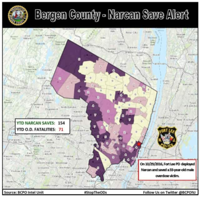 The Bergen County Prosecutor's Office's updates will include visuals like this map to alert the public toward Narcan saves and more.