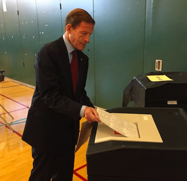 Sen. Richard Blumenthal casts his ballot at Glenville School in Greenwich last month. He was re-elected to his second term in the U.S. Senate.