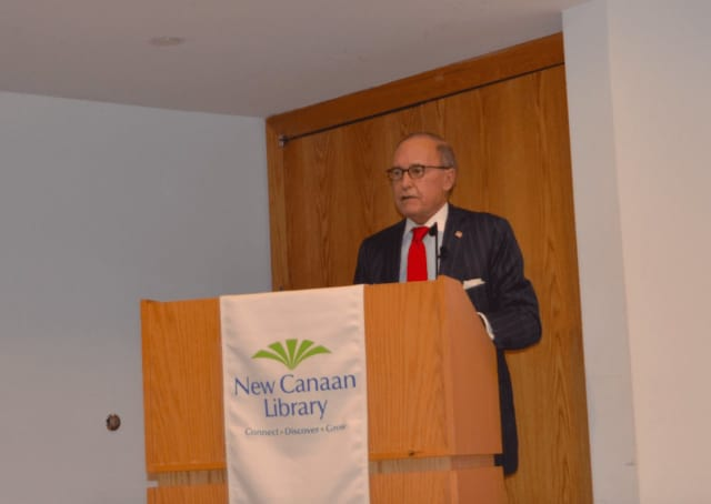 """Redding resident Larry Kudlow, CNBC's Senior Contributor and nationally syndicated radio host spoke recently at the New Canaan Library about the advantages of being a """"nice politician."""""""