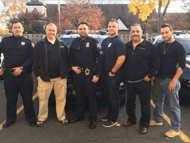 Some of the officers taking part were, left to right, Police Officer Ryan Ortiz, Sgt. Andy Loughlin, Sgt. Jose Martinez, Police Officer Andrew Yorke, Detective Sgt. John Mallon and Police Officer Mike Careswell.