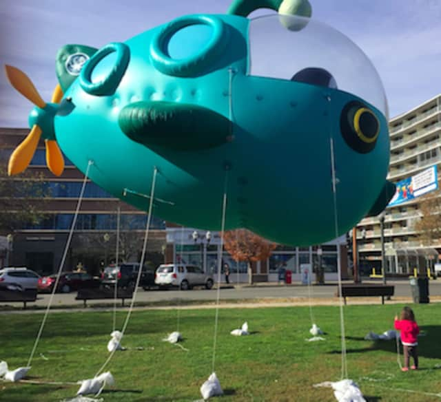 A child looks at the Octonauts ballon that will be one of the balloons at the UBS Parade Spectacular on Nov. 20 in Stamford.