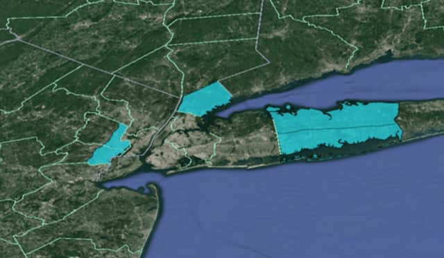 Areas in blue, including Southern Westchester, are under the Freeze Warning.
