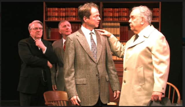"From left, Barry Hatrick, David Victor, Travis Branch and David Pirrie perform in the Westport Community Theatre's production of Agatha Christie's ""Witness for the Prosecution."""