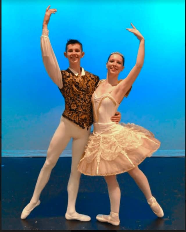 """Troy Kelley and Hannah Ferguson at a rehearsal for this year's performance of """"Scenes from the Nutcracker."""""""