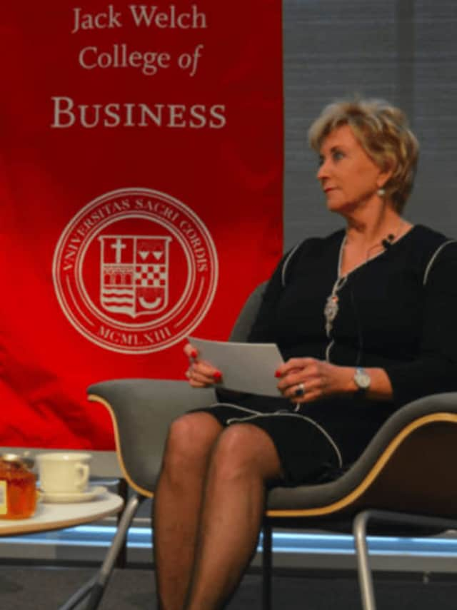 Linda McMahon, co-founder of Stamford-based WWE, takes part in the Women Can Have It All series at Sacred Heart University in Fairfield.