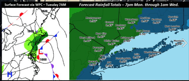 Rainfall projections through Wednesday.