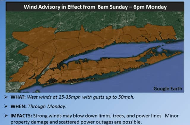 The Wind Advisory, which had originally been issued for Southern Westchester on Saturday, now includes all of Westchester as well as Putnam and Rockland.