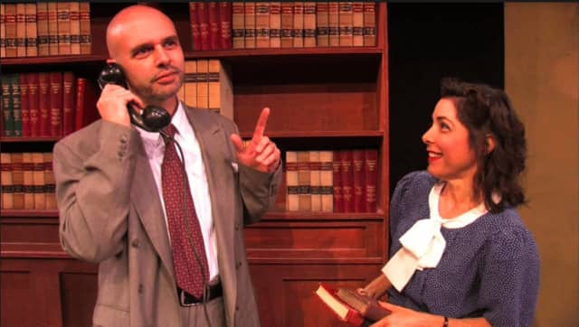 "Geoffrey Gilbert and Cindy Hartog in the Westport Community Theatre's production of Agatha Christie's ""Witness for the Prosecution."""