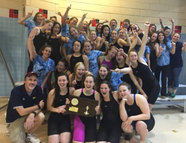 Tom Grace, first row, left, led the Weston High girls swim team to its fourth straight Class S state championship.