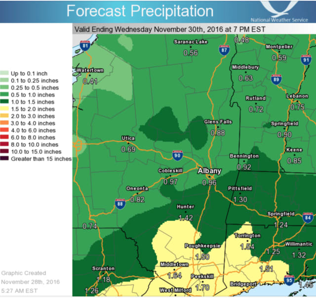 A look at rainfall potential for Dutchess and points north.