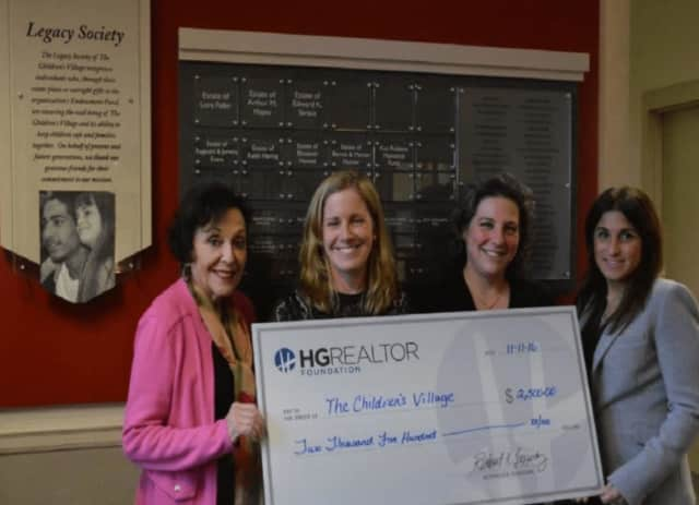 From left, Bonnie Koff, HG Realtor Foundation; Elisabeth Vieselmeyer, Director of Foundation and Government Relations, The Children's Village; Amy DelliPaoli, Director of Volunteers, The Children's Village;  Stephanie Liggio, HG Realtor Foundation.