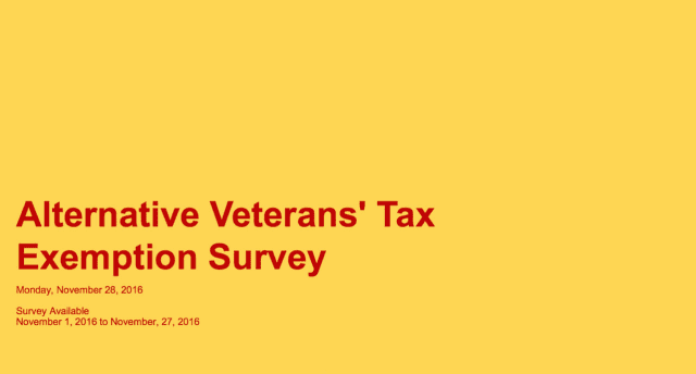 The Alternative Veterans' Tax Exemption Survey. The Arlington School board reportedly approved a tax exemption for veterans in the district after a public meeting Tuesday.
