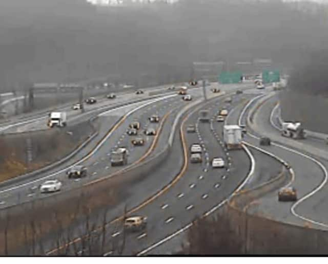 Roads remain slick in Westchester on Wednesday morning. Above, conditions on I-287 at I-87 just before 8 a.m.