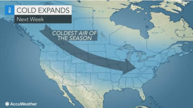 The coldest air of the season will bring with it a chance for snow next week, starting Monday morning.