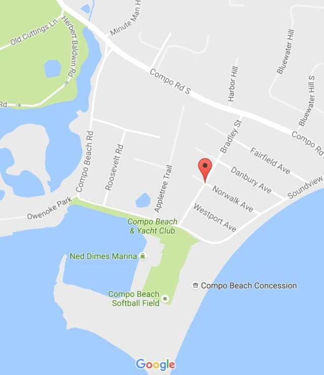 The roofing accident occurred at a home on Norwalk Avenue in the Compo Beach section of Westport.