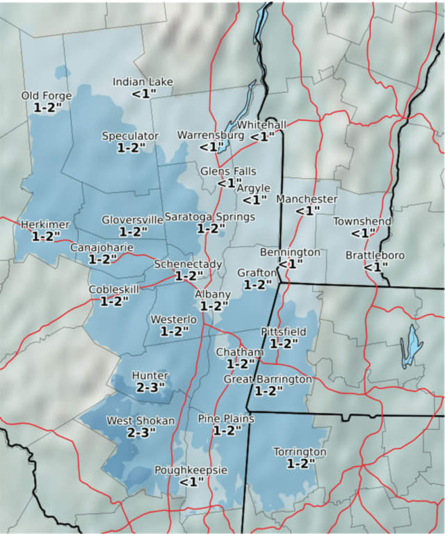 A look at snowfall accumulation projections from the newest system expected to affect Dutchess.