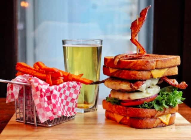 Killer B of Norwalk offers up burgers served on grilled cheese sandwiches.