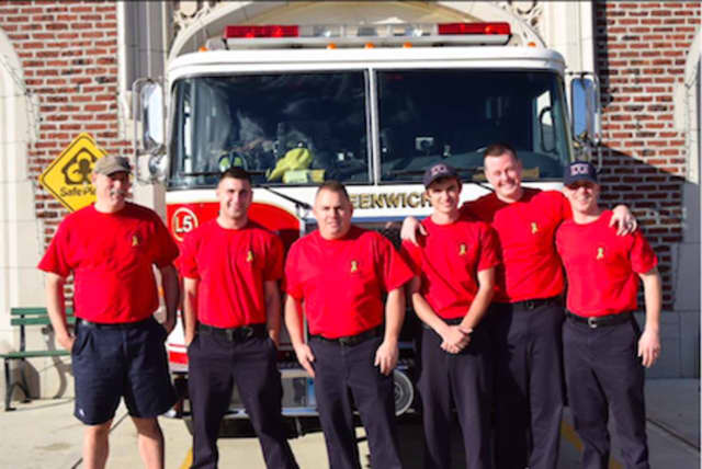 Greenwich firefighters will wear red T-shirts on Fridays in support of armed forces.