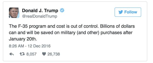 President-Elect Donald Trump slammed the F-35 program in a Tweet on Monday.