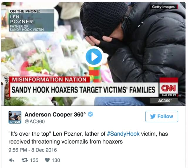 CNN's Anderson Cooper interviewed Len Pozner, the father of a Sandy Hook victim, about death threats he has received.