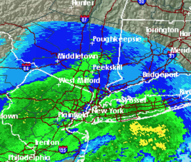 A look at the mixed bag of precipitation moving through the area Monday morning.
